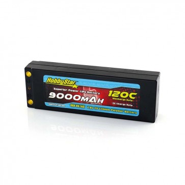HobbyStar 9000mAh 7.6V, 2S HV 120C Hardcase LiPo Battery - Terminal Style