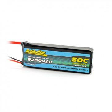 HobbyStar 2200mAh 7.4V, 2S 50C LiPo Battery