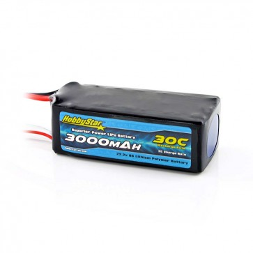 HobbyStar 3000mAh 22.2V, 6S 30C LiPo Battery
