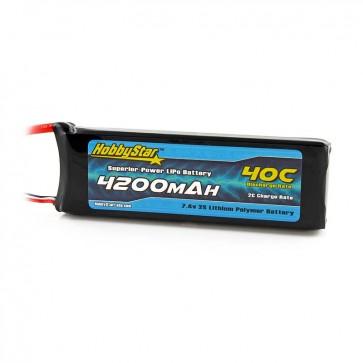 HobbyStar 4200mAh 7.4V, 2S 40C LiPo Battery