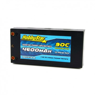 "HobbyStar 4600mAh 7.4V, 2S 90C Hardcase ""Shorty"" LiPo Battery"