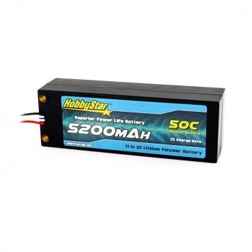 HobbyStar 5200mAh 11.1V, 3S 50C Hardcase LiPo Battery - Terminal Style
