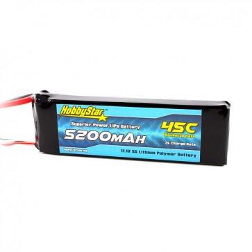 HobbyStar 5200mAh 11.1V, 3S 45C LiPo Battery