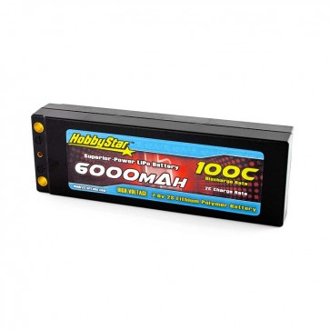HobbyStar 6000mAh 7.6V, 2S HV 100C Hardcase LiPo Battery - Terminal Style