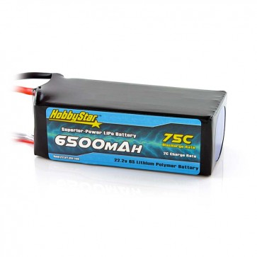 HobbyStar 6500mAh 22.2V, 6S 75C LiPo Battery