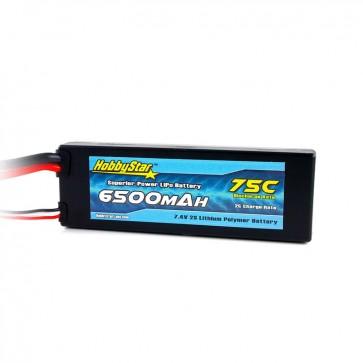 HobbyStar 6500mAh 7.4V, 2S 75C Hardcase LiPo Battery