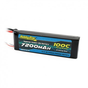 HobbyStar 7200mAh 11.1V, 3S 100C LiPo Battery