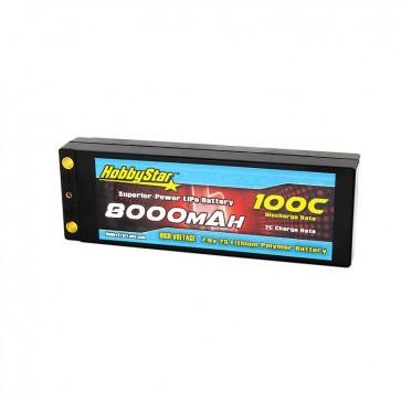HobbyStar 8000mAh 7.6V, 2S HV 100C Hardcase LiPo Battery - Terminal Style