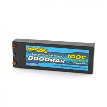 HobbyStar 8000mAh 7.4V, 2S 100C Hardcase LiPo Battery - Terminal Style