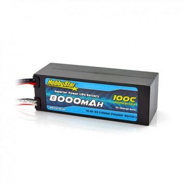 HobbyStar 8000mAh 14.8V, 4S 100C Hardcase LiPo Battery