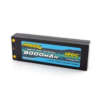 HobbyStar 8000mAh 7.4V, 2S 120C Hardcase LiPo Battery, Low IR - Terminal Style