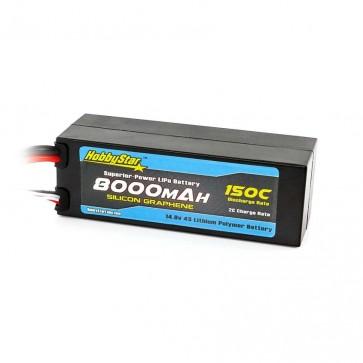 HobbyStar 8000mAh 14.8V, 4S 150C Silicone Graphene, Hardcase LiPo Battery