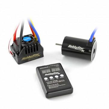 HobbyStar Short Course Combo, 80A ESC and 550 Brushless, Sensorless 4-Pole Motor, 3.2mm Shaft, Includes Program Card