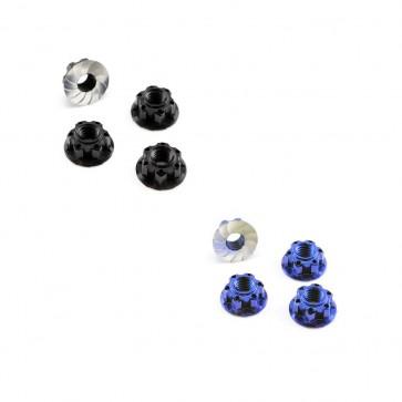 """HobbyStar """"Gripper"""" Aluminum Lock Nut, V2, Serrated, M4, 4pk"""