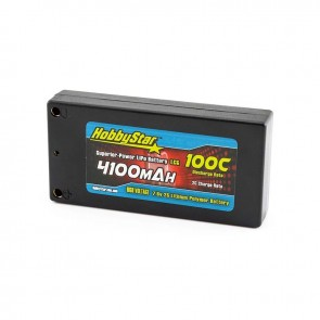 "HobbyStar 4100mAh 7.6V, 2S HV 100C Hardcase ""LCG"" LiPo Battery"