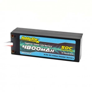 HobbyStar 4800mAh 14.8V, 4S 50C Hardcase LiPo Battery, Compact, Terminal Style