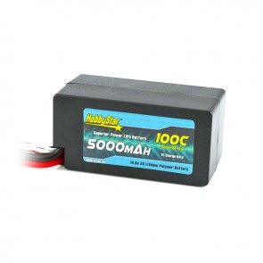 """HobbyStar 5000mAh 14.8V, 4S 100C Hardcase """"Shorty"""" LiPo Battery"""