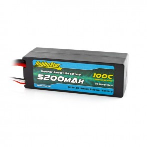 HobbyStar 5200mAh 14.8V, 4S 100C Hardcase LiPo Battery, Low IR