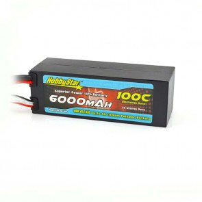 HobbyStar 6000mAh 15.2V, 4S HV 100C Hardcase LiPo Battery - EC5 style