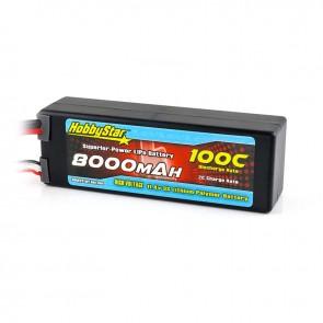 HobbyStar 8000mAh 11.4V, 3S HV 100C Hardcase LiPo Battery - EC5 style