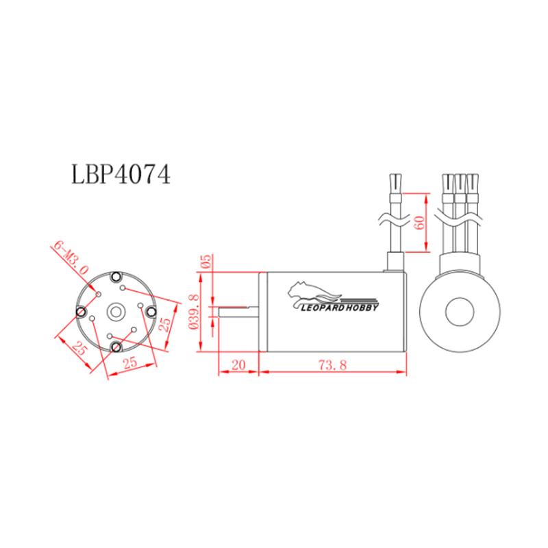 Leopard 4074 4 Pole Brushless Inrunner Motor 2200kv For 1